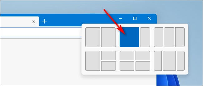 Select a layout position rectangle in the Snap window.