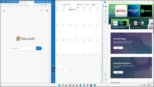 The equal vertical thirds Windows 11 Snap layout