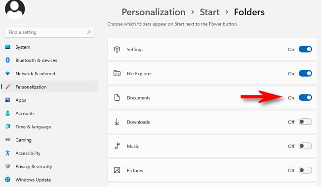 """Nel menu Personalizzazione > Start > Cartelle, attiva tutte le cartelle che desideri visualizzare nel menu Start."""" larghezza=""""650″ altezza=""""380″></p> <p>Successivamente, chiudi Impostazioni.  Quando fai clic sul pulsante Start, vedrai i collegamenti alle cartelle elencati nell'angolo in basso a destra del menu Start, proprio accanto al pulsante di accensione.</p> <p>Se cambi idea e desideri rimuovere un collegamento speciale alla cartella da Start, torna su Impostazioni > Personalizzazione > Start > Cartelle e imposta l'interruttore accanto a """"Off"""".  In bocca al lupo!</p> <p><strong>RELAZIONATO:</strong> <strong><em>Ecco come funziona in modo diverso il nuovo menu Start di Windows 11</em></strong></p> </div> <p><script>  setTimeout(function(){   !function(f,b,e,v,n,t,s)   {if(f.fbq)return;n=f.fbq=function(){n.callMethod?   n.callMethod.apply(n,arguments):n.queue.push(arguments)};   if(!f._fbq)f._fbq=n;n.push=n;n.loaded=!0;n.version='2.0';   n.queue=[];t=b.createElement(e);t.async=!0;   t.src=v;s=b.getElementsByTagName(e)[0];   s.parentNode.insertBefore(t,s) } (window, document,'script',   'https://connect.facebook.net/en_US/fbevents.js');    fbq('init', '335401813750447');    fbq('track', 'PageView');   },3000); </script></p> <div class='code-block code-block-2' style='margin: 8px 0; clear: both;'> <amp-ad width="""