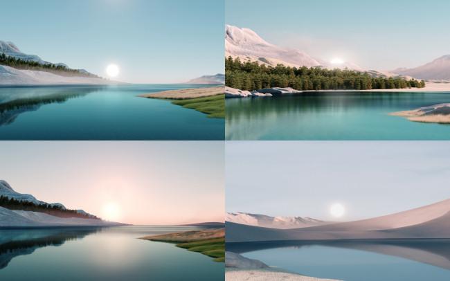 "Windows 11 ""sunrise"" theme wallpapers."