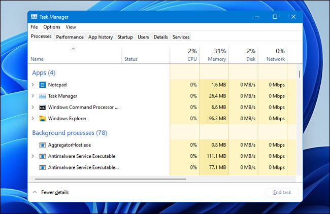 Task Manager in Windows 11
