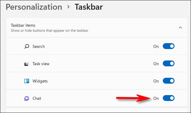 """In Personalization > Taskbar, switch """"Chat"""" to """"On."""""""