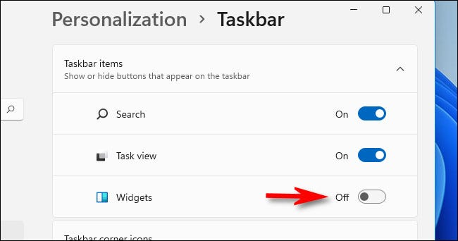 "In Settings > Personalization > Taskbar >Taskbar Items, flip the switch beside ""Widgets"" to ""Off."""