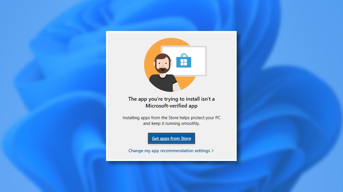 The Windows 11 unverified app message.