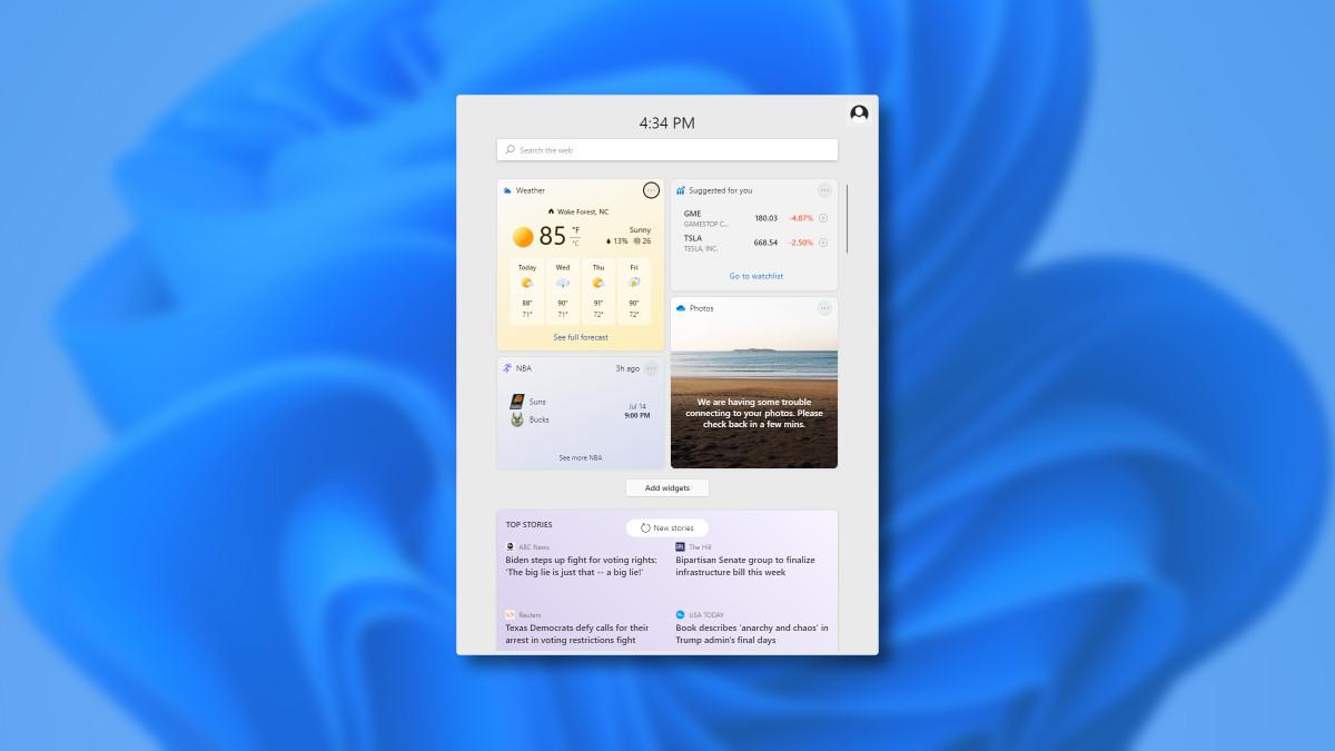 The Windows 11 widgets menu