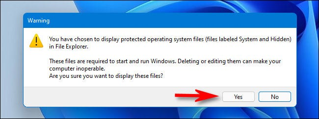 """When warned about revealing protected operating system files, click """"Yes."""""""