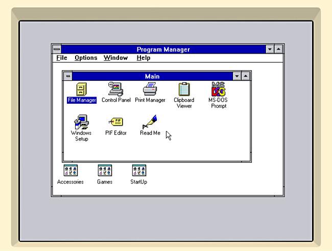 The Windows 3.1 desktop in iDOS 2 on iPad.