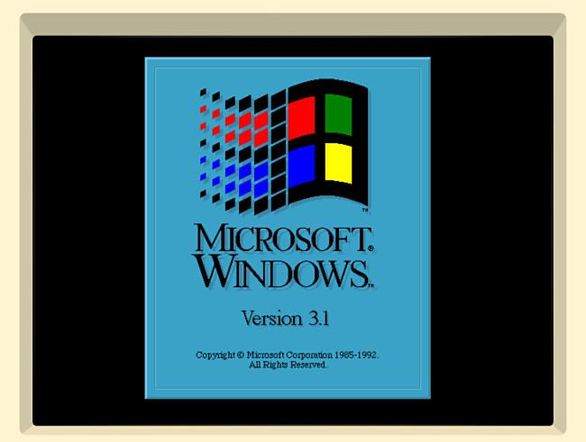 The Windows 3.1 splash screen in iDOS 2 on iPad.