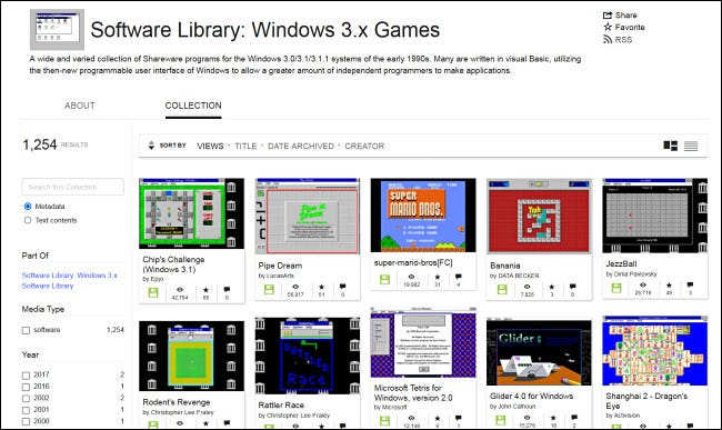 Browsing Windows 3.1 games on the Internet Archive.