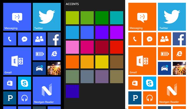 Lựa chọn màu cho Windows Phone.