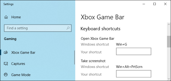 Xbox Game Bar options in Windows 10's Settings app.