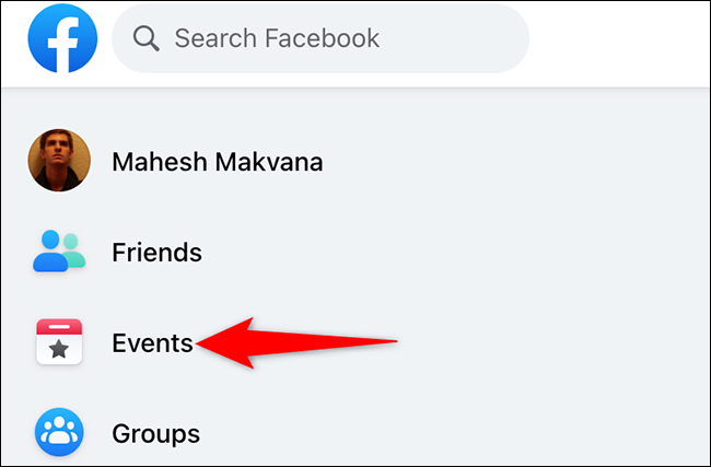 """Click """"Events"""" on the Facebook site."""