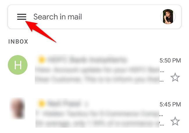 Πατήστε το μενού χάμπουργκερ στην εφαρμογή Gmail.