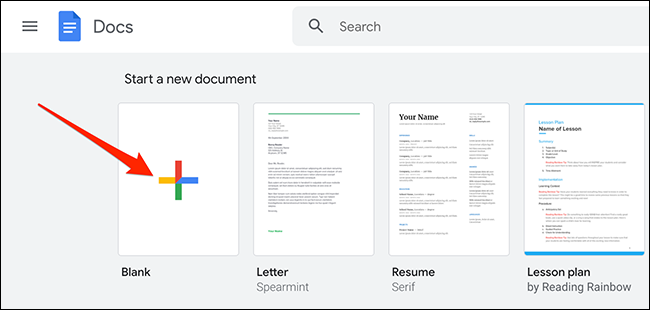 """Click """"Blank"""" on the Google Docs site."""
