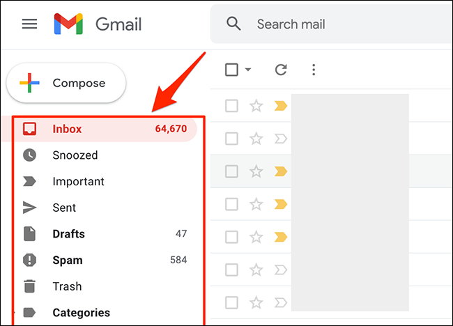 Select an email folder on Gmail.