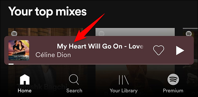Tap the currently playing song at the bottom of the Spotify mobile app.