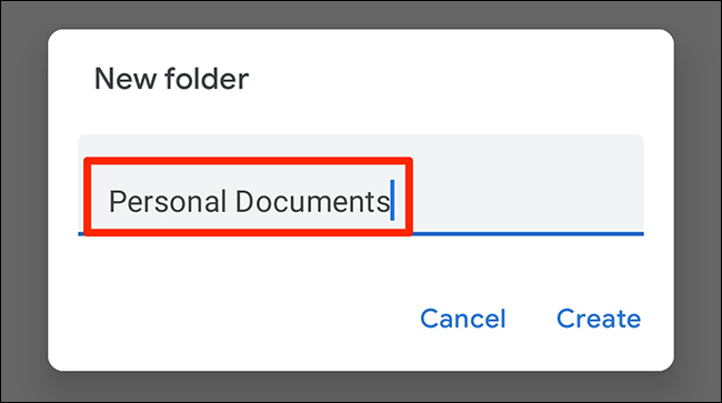 """Type a new folder name and tap """"Create"""" in the """"New Folder"""" prompt of the Google Docs app."""