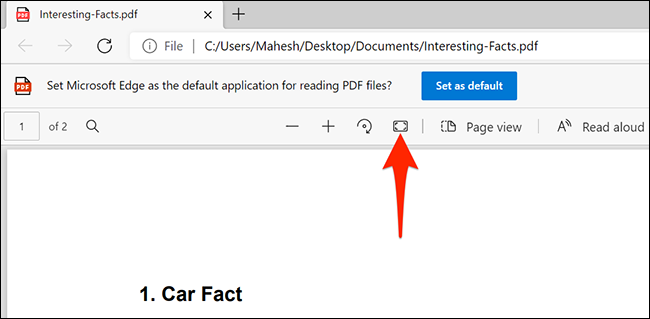 """Select """"Fit to Page"""" in Microsoft Edge's PDF reader."""