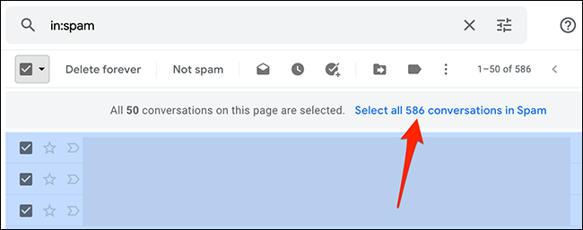 """Select """"Select All X Conversations in Folder"""" on Gmail."""