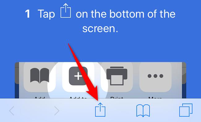 "Select ""Share"" in Safari on an iPhone."