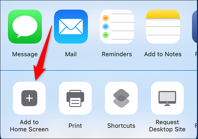 """Select """"Add to Home Screen"""" from the Share Sheet on an iPhone."""