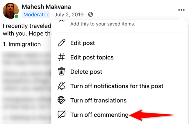 """Select """"Turn Off Commenting"""" from the three-dots menu for a post on Facebook."""