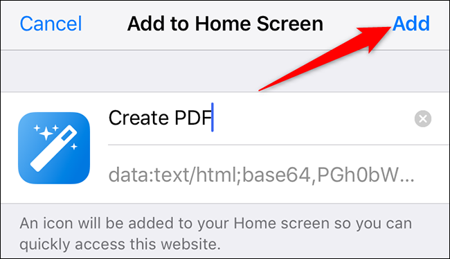 """Select """"Add"""" on the """"Add to Home Screen"""" page on an iPhone."""
