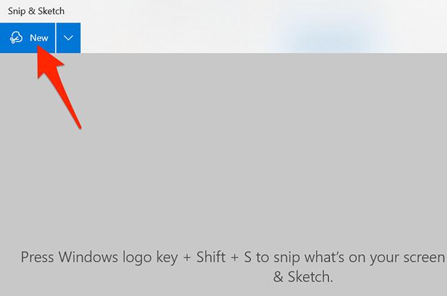 "Click ""New"" in Snip & Sketch."
