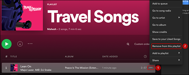 """Click the three dots next to a song and choose """"Remove from This Playlist"""" in Spotify."""