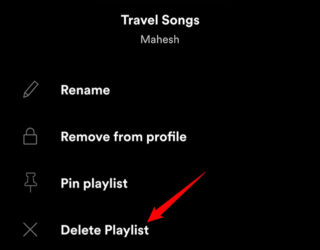 """Tap and hold on a playlist and choose """"Delete Playlist"""" in the Spotify app."""