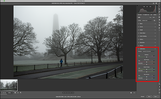 Calibration panel highlighted in adobe camera raw