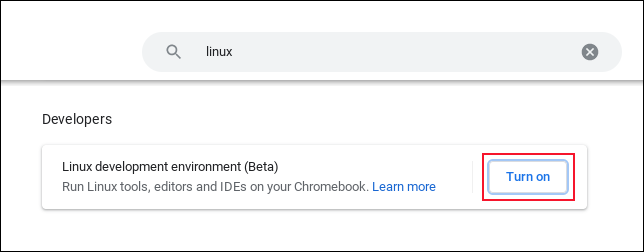 """Click """"Turn On"""" next to the Linux development environment setting on a Chromebook"""