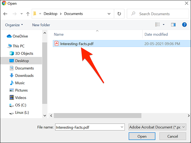 Select a PDF file to upload to Adobe's PDF to JPG conversion site.