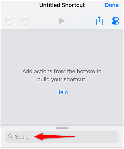 """Tap """"Search"""" on the """"Untitled Shortcut"""" page in Shortcuts."""