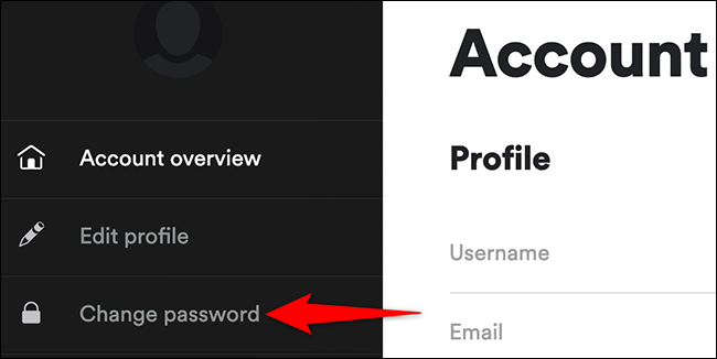 """Select """"Change Password"""" on the account page of Spotify."""