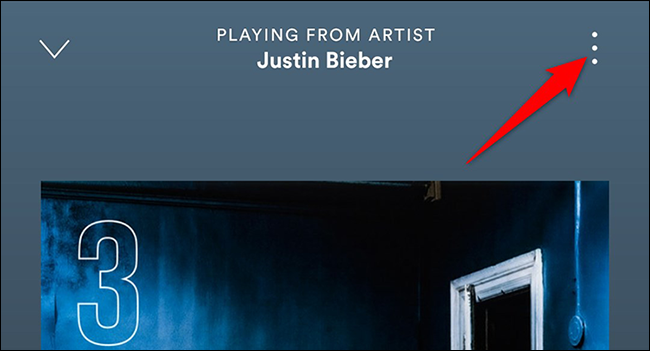 """Tap the three dots on the """"Now Playing"""" screen in the Spotify app."""
