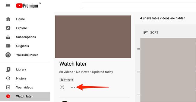 Clique no menu de três pontos no YouTube