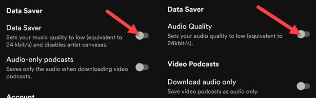 """Attiva """"Risparmio dati"""" o """"Qualità audio""""."""