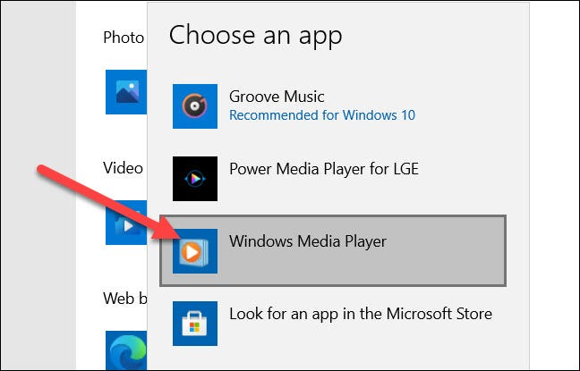 """Choose """"Windows Media Player"""" from the list."""