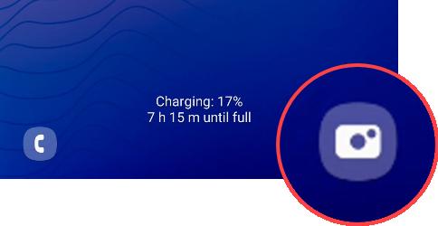 Camera shortcut on Samsung phone.