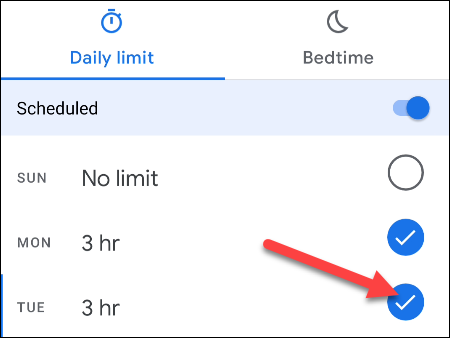 Select the days for time limits.