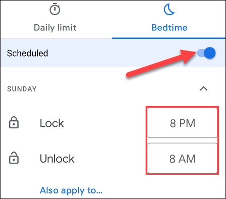 Turn on Bedtime schedule and set the times.