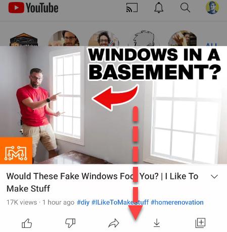 Swipe down on video.