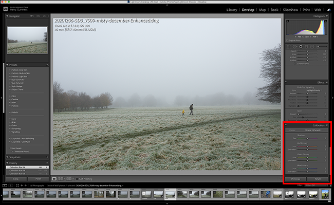 calibration panel highlighted in lightroom