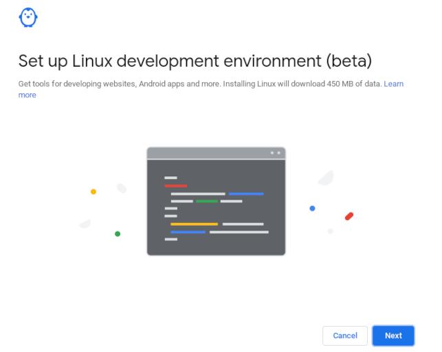 Linux development environment confirmation screen on a Chromebook