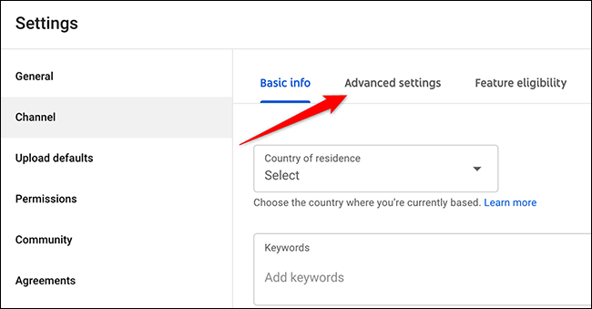 """Click """"Advanced Settings"""" in the """"Settings"""" window on the YouTube Studio site."""