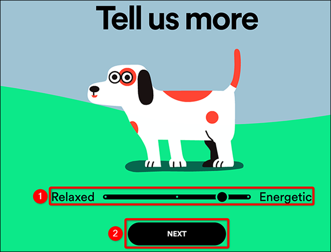 """Select """"Relaxed"""" or """"Energetic"""" for the pet on the Spotify for Pets site."""
