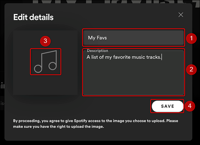 """Fill in the playlist details in the """"Edit Details"""" window of Spotify."""