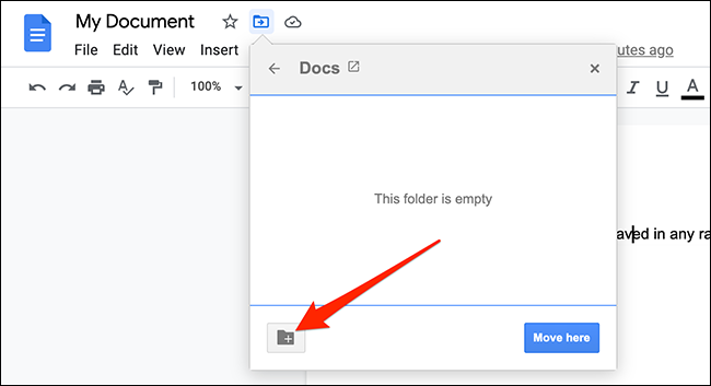 """Click the """"New Folder"""" option in the move menu on the Google Docs site."""