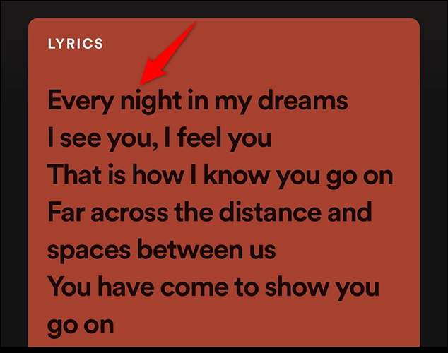View song lyrics in the Spotify mobile app.